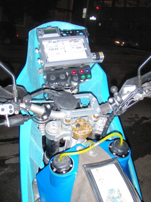 A view of Charlie Rosseo's navigation set up on his old KTM rally bike ...