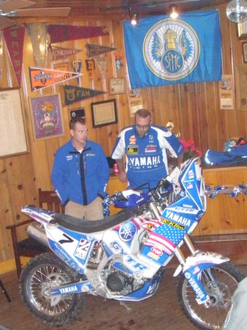 Jonah, on the left, Niles, and the Yamaha WR450 in JVO rally trim